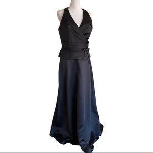 Alyce Designs Black Halter Top Prom Dress Size 14